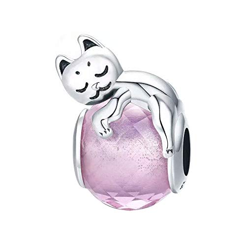 Sterling Silver Animal Charms - Lovely Animals Charm 925 Sterling Silver Animal Charm Beads for Fashion Charms Bracelet & Necklace (Cute Cat & Pink Glass)