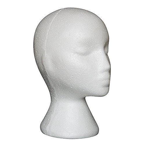 Foam Female Head Model Face Doll Mannequin Dummy With Wig Glasses Hat False Hair Display Stand -