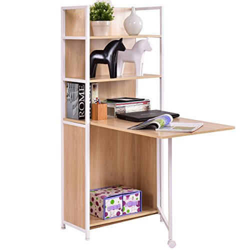 Tangkula Convertible Desk Wood Folding Cabinet Laptop Computer Desk with Shelf ()