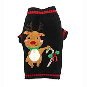 Pet Supplies Dog Clothes Teddy Puppies Elk Pattern Christmas Costume Polyster Material Knit Warm Elasticity Sweater Autumn and Winter Clothes Winter Pet Supplies-M