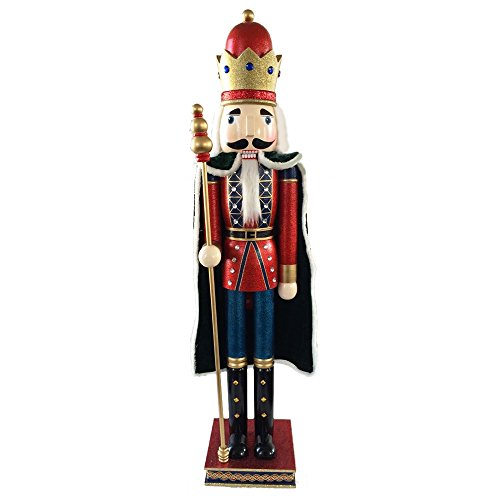 Christmas Nutcracker Figure King With Cape Red Blue With Glitter And Sparkle Rhinestones 42 Inch Exclusive by Nutcracker Ballet Gifts (Image #1)
