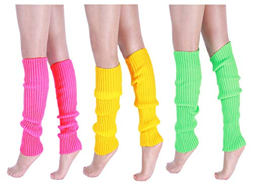 CHUNG Adult Women Juniors Knitted Leg Warmers Neon