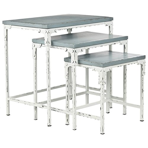 Safavieh American Home Collection Julian Distressed Stacking Tables, Pale Blue and White by Safavieh