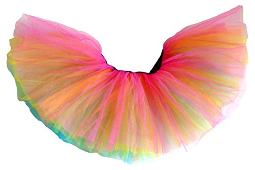 Classic 80s Clothing (Dancina Adult Tutu Classic 5 Layer Cute Adult 5k 10k Fun Color Run 80s Skirt Short 10