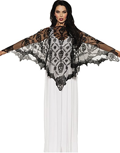 Underwraps Women's Vampire Lace Poncho, Black, One (Movie Themed Halloween Costumes Ideas)