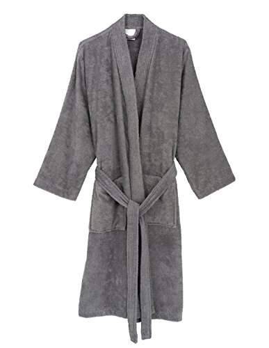 TowelSelections Men's Robe, Turkish Cotton Terry Kimono Bathrobe Small/Medium Cloudburst