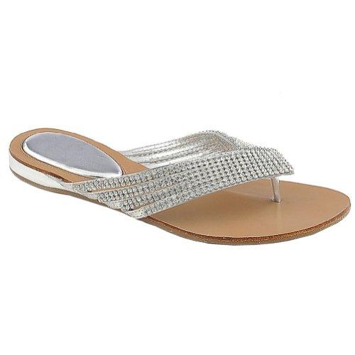 [Kylie 09 Rhinestone Embellished Thong Flat Sandals Silver,Kalie-09 Silver 11] (Bling Flip Flops)