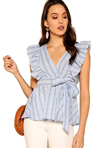 Milumia Women Striped Blouses Wrap V Neck Belted High Waist Belt Blue M