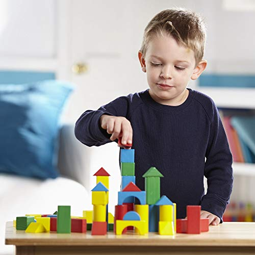 "Melissa & Doug Wooden Building Blocks Set (Developmental Toy, 100 Blocks In 4 Colors & 9 Shapes, 13.5"" H X 3.5"" W X 9"" L)"