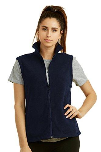 Sofra Women's Polar Fleece Full Zip Up Winter Vest (L, Navy)