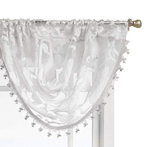 Trim Ribbon White Jacquard (GoodGram Ultra luxurious Scroll Sheer Waterfall Window Valance With Tassels - Assorted Colors (White, Window Valance))