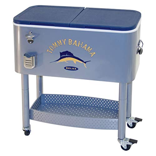 Tommy Bahama 77 Quart Steel Rolling Portable Patio Party Cooler