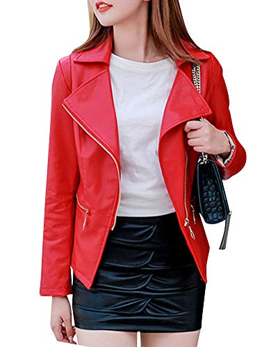 Jacket Leather Windproof Fit Womens Red Faux Outerwear Coat Quge Long Sleeve Slim TE0txUnnFw
