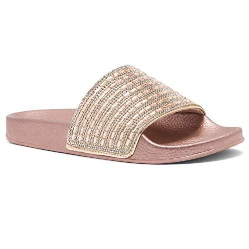 Shoe Land SL-Best Wishes Womens Fashion Rhinestone Glitter Slide Slip On Mules Summer Shoe Platform Footbed Sandal Slippers Rose Gold 8.0