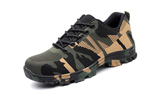 Angbater Work Safety Sneakers for Men Steel Toe Shoes Lightweight Breathable Outdoor Fashion Sports Construction Working Shoes Camouflage Green (Heavy Shoes Duty)