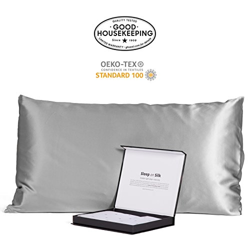 Fishers Finery 30mm 100% Pure Mulberry Silk Pillowcase Good Housekeeping Quality Tested (Silver, ()