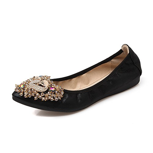 Meeshine Women's Wedding Flats Foldable Ballet Shoes Black 8 US