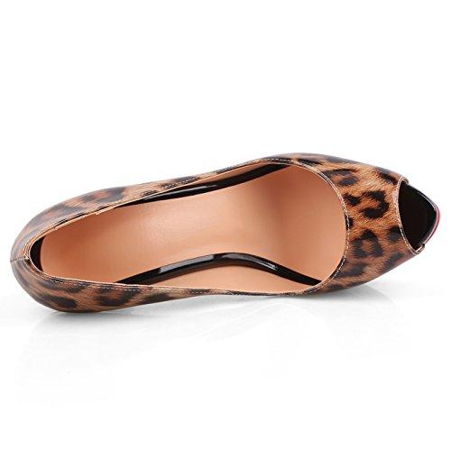 Chris-t Damesschoenen Naaldhak Platform Peep Toe Pumps Leopard