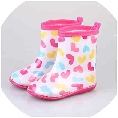 5e3f51ea2 Kids Rain Boots Girls Shoes Non-Slip Rainboots Love Pattern Waterproof Rubber  Shoes