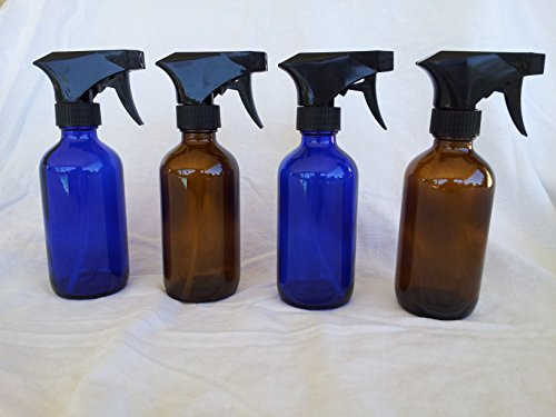 Four (4) 8 Oz Glass Spray Bottles, 2 Blue 2 Amber... Perfect to Spray Aromatherapy Solutions or Cleaning Products