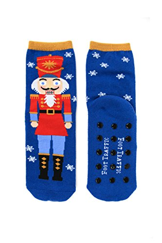 Foot Traffic - Slipper Socks, Fun & Cozy Non-Slip Comfort, Nutcracker (Women