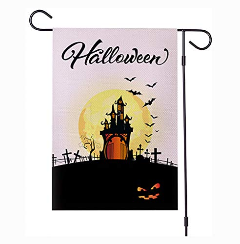 Castle Garden Flag Halloween Waterproof Encryption Linen Carnival Party Decoration 12X18 Inch,b