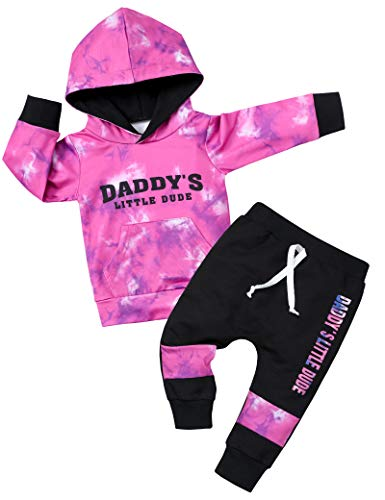 Toddler Baby Boy Outfit Clothes Infant Tie Dye Hoodie Sweatshirt Tops Sweatpants Print Pants Winter 2PCS Outfit
