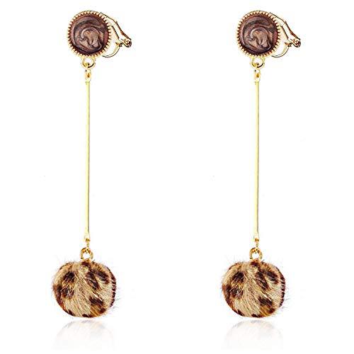 - Leopard Hairball Clip on Earrings Long Dangle Drop non Pierced for Women Girls Gold Plated Bohemian Boho