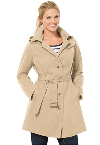 Women's Plus Size Classic Trench Raincoat With Button Lining And Belt New