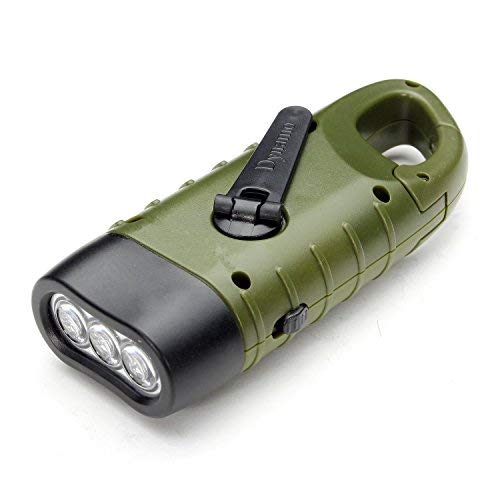 (MECO Hand Cranking Solar Powered Rechargeable Flashlight Emergency LED Flashlight Carbiner Dynamo Quick Snap Clip Backpack Flashlight Torch Weather Ready for Camping Outdoor Climbing Hiking)