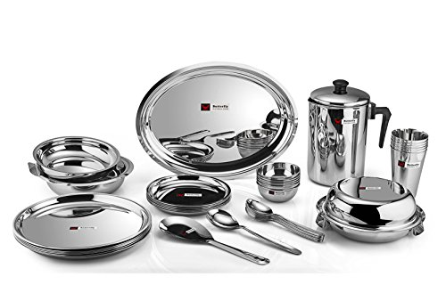 Butterfly Stainless SteelDinner Set – 30 Pieces, Silver