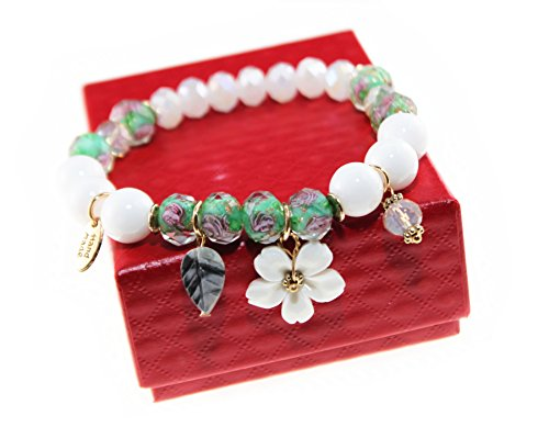 MeetsSpringRain Japanese Style Nature Stone & Colored Glaze Charm Bracelet with Peach Blossom Pendant for Women and Girls -
