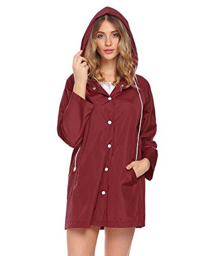 0206cd6c4ede7 Soteer Womens Lightweight Raincoat Hooded Waterproof Active Outdoor Rain  Jacket