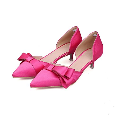 Pull Material Closed Toe On Amoonyfashion Pumps Heels Rosered Pointed Mixed Shoes Womens Kitten Tx5axAf