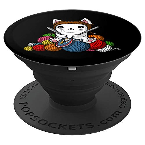 (Cat Yarn Knitting Kitten Pet - PopSockets Grip and Stand for Phones and Tablets)