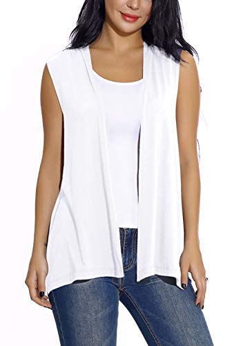 - Women's Sleeveless Open Front Cardigan Vest Lightweight Cool Coat (M, White)