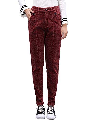 - Gooket Women's Stretch Corduroy Skinny Ankle Pants Slim Pencil Pants Bordeaux Tag 28-US 4