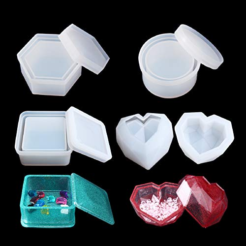 Box Resin Molds LET'S Resin Jewelry Box Molds with 9-Slot Epoxy Molds, Diamond Heart Molds, Square Silicone Molds for Making Resin Box