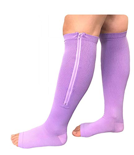 Presadee Overnight Open Toe 15-20 mmHg Zipper Compression Grade Sleeping Night Time Leg Circulation Calf Swelling Relief Purple Socks (L/XL)