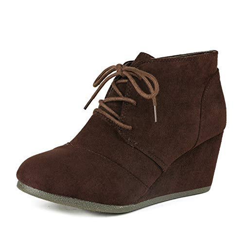 Suede Wedge Heels Brown - DREAM PAIRS TOMSON Women's Casual Fashion Outdoor Lace Up Low Wedge Heel Booties Shoes   brown 8 B(M) US