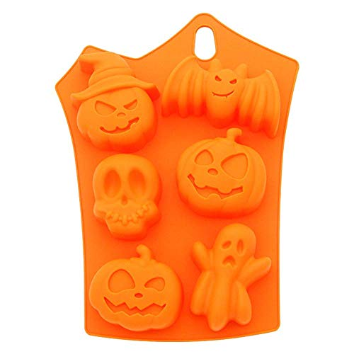 Voberry 6-Cavity Silicone Cupcake Liner, Creative Halloween Pumpkin