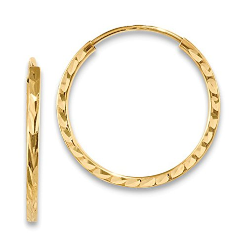 14K Yellow Gold Diamond Cut Square Tube Continuous Endless Hoop Earrings, (20mm) (1.35mm Tube) 14k Yellow Gold Pattern