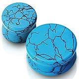 Imitation Turquoise Stone Saddle Plug - 00G (10mm) - Sold as a Pair