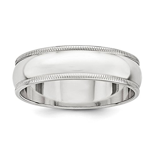 925 Sterling Silver 6mm Half Round Polished Milgrain Wedding Ring Band Size 8