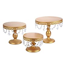 Vilavita 3-Set Antique Iron Cake Stand Round Dessert Cupcake Display wth Gold Crystal Beaded and Dangles, Gold