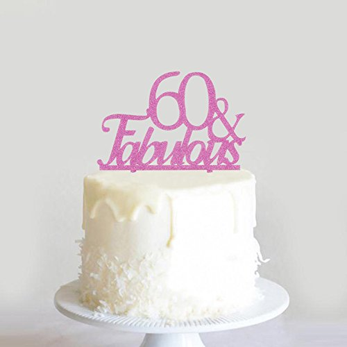 60 Fabulous Birthday Cake Topper 60th Wedding Anniversary Party Cupcake Decoration Purple