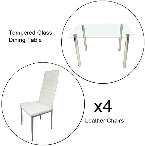 home, kitchen, furniture, kitchen, dining room furniture,  table, chair sets 2 image JOYBASE 5 Piece Dining Table Set, Tempered Glass promotion