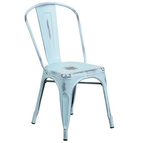 Flash Furniture Distressed Green-Blue Metal Indoor-Outdoor Stackable Chair