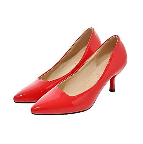 FBUIDD005426 Tacco Donna A Tirare Luccichio AllhqFashion Ballet Puro Flats Medio Scarpe Punta Rosso 5Tw0Pxxqd