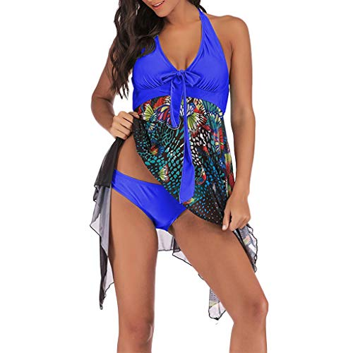 2019 New Women's Plus Size Tankini Floral Printed Swimdress Two Piece Bathing Asymmetric Swimwear Set (Blue, XXL)